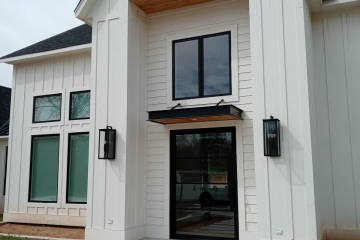 Horizontal Entry Awning with Cedar Soffit